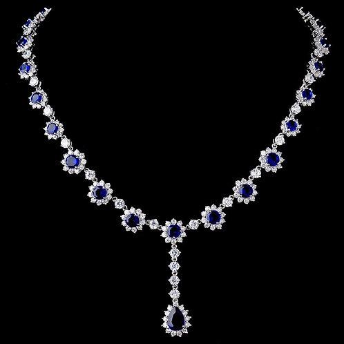 Gorgeous Antique Silver Sapphire Cubic Zirconia Necklace N 5063