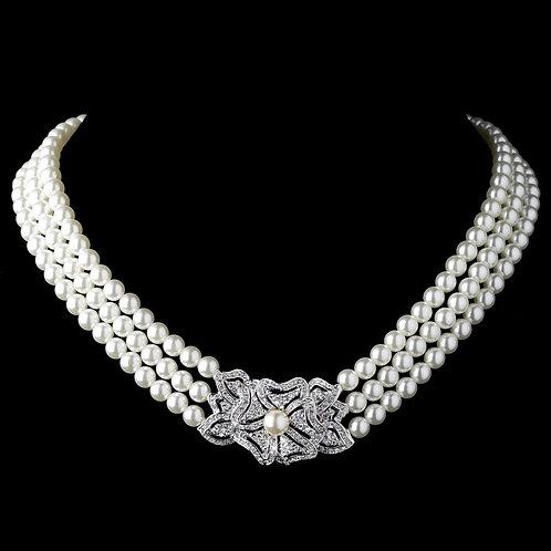 Rhodium Ivory Pearl & Rhinestone Vintage Floral Necklace 76010