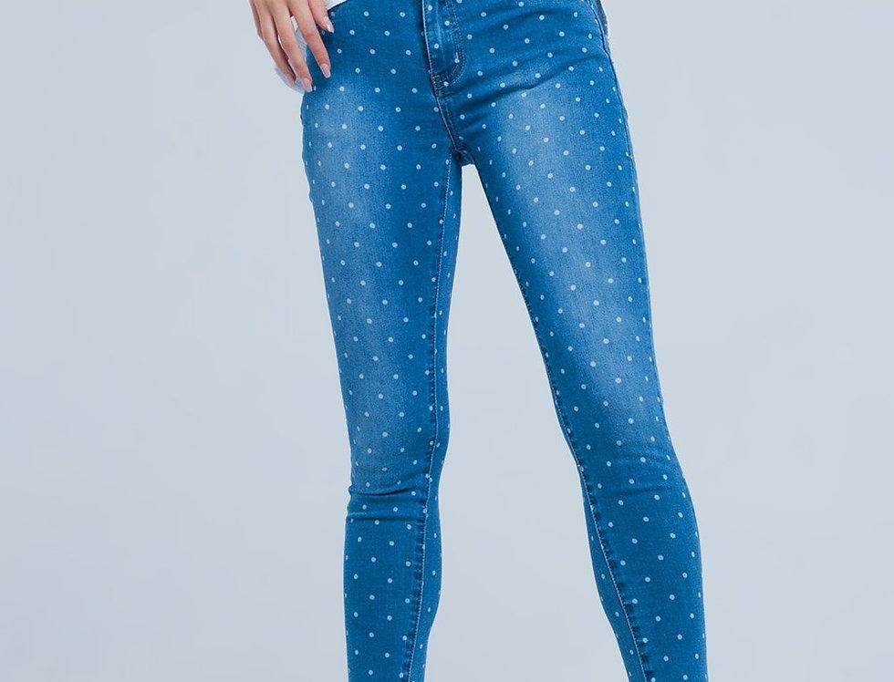 Skinny Jeans in Polka Dot Print