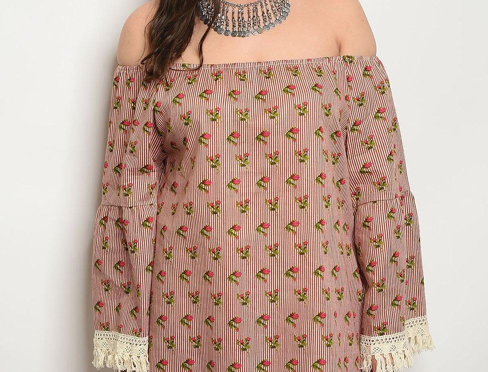 Womens Stripes Floral Plus Size Dress