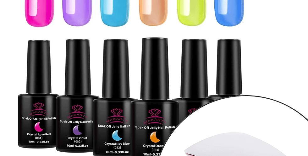 6 Color Crystal Jelly Gel Polish Set In Rainbow 10ml + Lamp Bundle