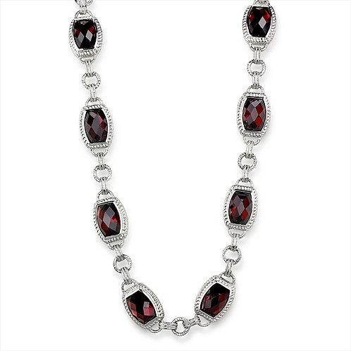 Necklace - 925 Sterling Silver, Rhodium, AAA Grade CZ, Garnet.