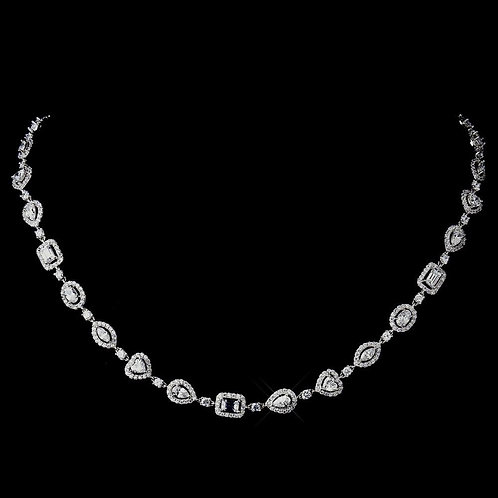 Antique Silver Clear CZ Crystal Necklace N 8650.