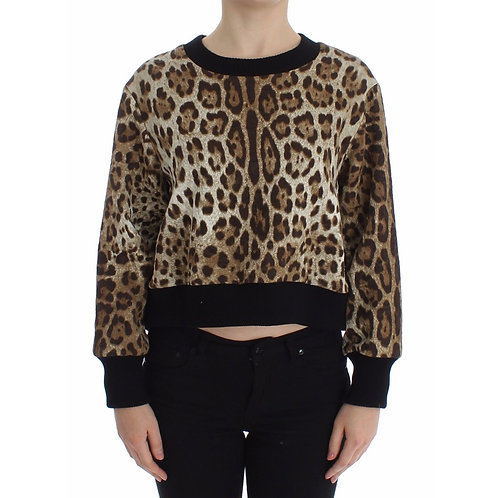 Leopard Print Crewneck Short Sweater