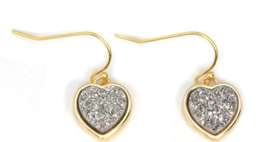 Olivia Heart Druzy Earrings in Gold