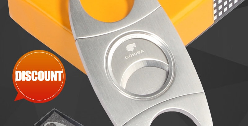 COHIBA Cigar Cutter Guillotine With Gift Box Christmas Cigar Scissors Gift