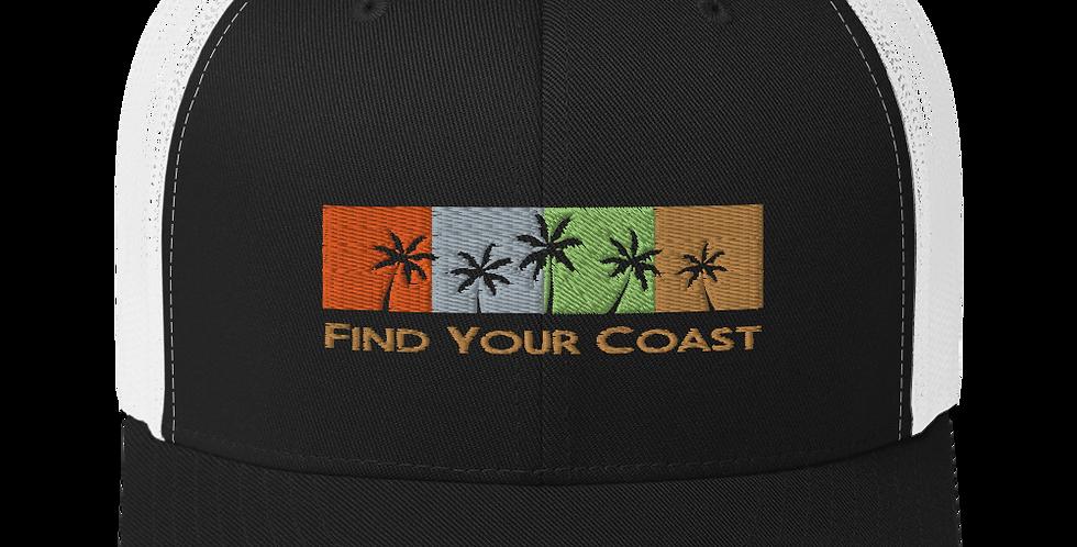 Find Your Coast Palm Season Mid-Profile Trucker Hat