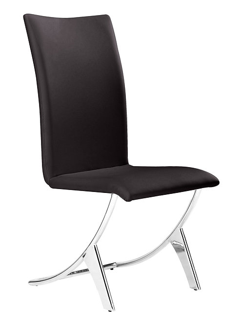 """17"""" x 26"""" x 39"""" Espresso, Leatherette, Chromed Steel, Dining Chair - Set of 2"""