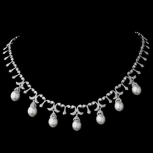 Gorgeous Antique Silver FW Pearl Necklace N 5082