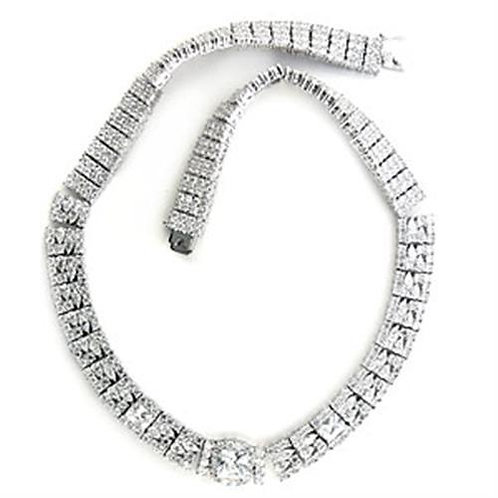 Necklace - Brass, Rhodium, AAA Grade CZ, Clear