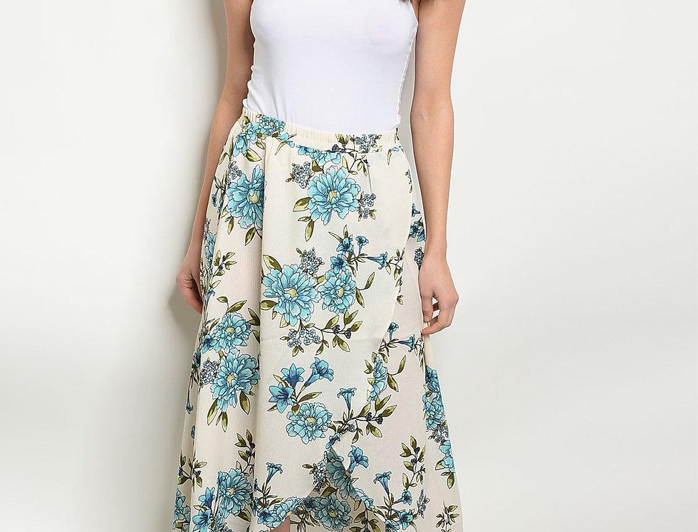 Cream Blue Floral Skirt