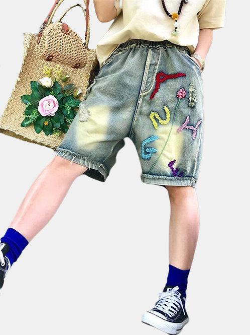 Elastic Waist Shorts Denim