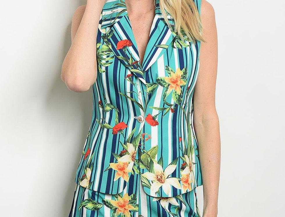 Womens Stripes Floral Vest & Short Set