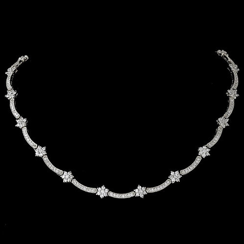 Vintage Silver Clear Cubic Zirconia Necklace N 6009.