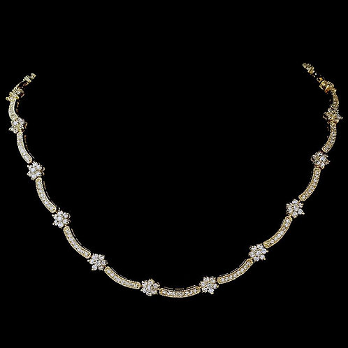 Cubic Zirconia Necklace 6009 Gold Clear.