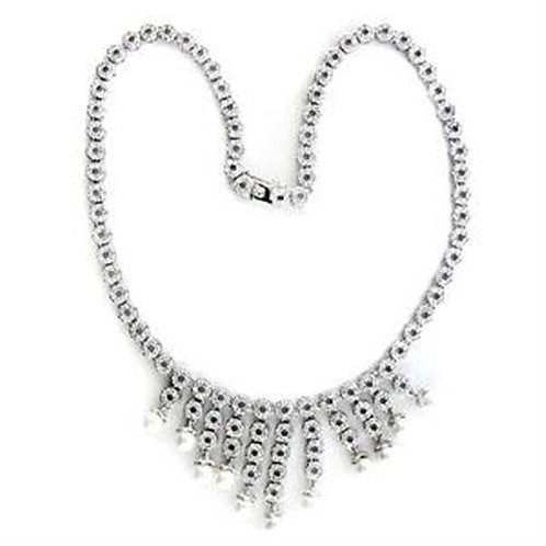 Necklace - 925 Sterling Silver, Rhodium, Synthetic, White, Pearl.