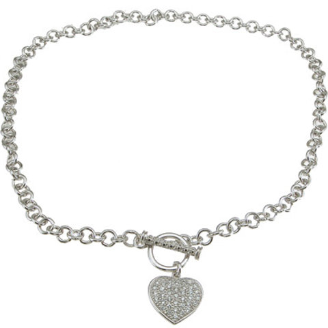 925 Sterling Silver Rhodium Finish CZ Tiffany Style Necklace