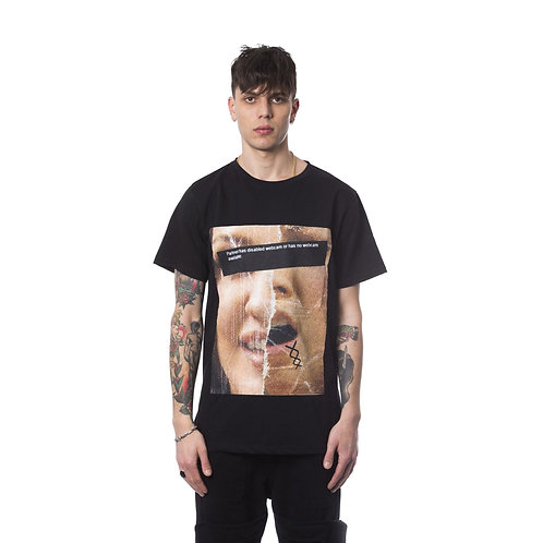 Round Neck Short-Sleeve Print T-shirt - Nero Black