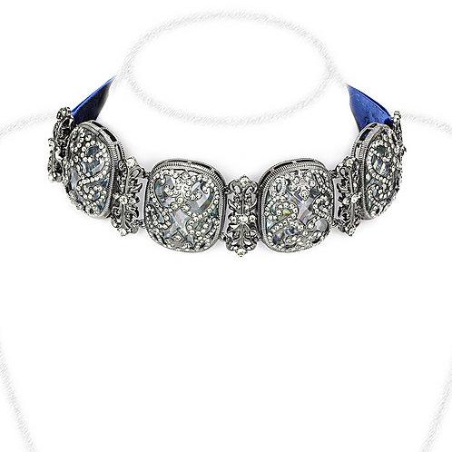 Necklace - Brass, TIN Cobalt Black, AAA Grade CZ, Clear, Oblong