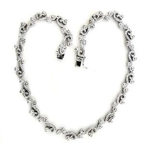 Necklace - 925 Sterling Silver, Rhodium, AAA Grade CZ, Clear.