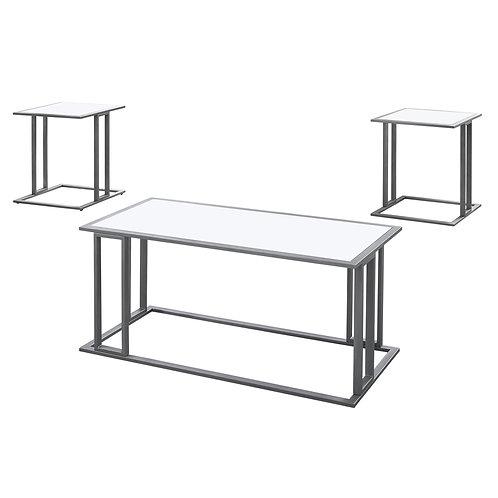 White Silver Metal Table Set - 3Pcs Set
