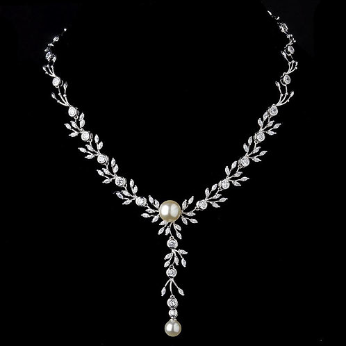 Silver Ivory Pearl Drop & Clear CZ Stone Necklace 9955.