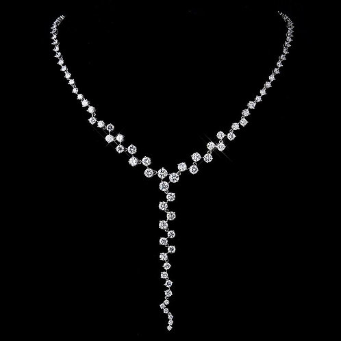 Silver Clear CZ Multi Cut Stone Necklace 8649