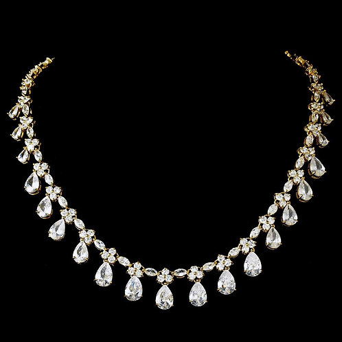 Gorgeous Cubic Zirconia Drop Gold Accent Necklace N 2404.