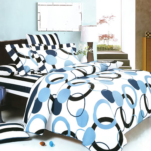 [Artistic Blue] Luxury 6PC MEGA Comforter Set Combo 300GSM (Twin Size)