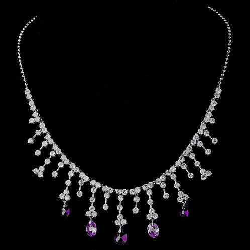 Silver Amethyst CZ Crystal Dangle Necklace 3628