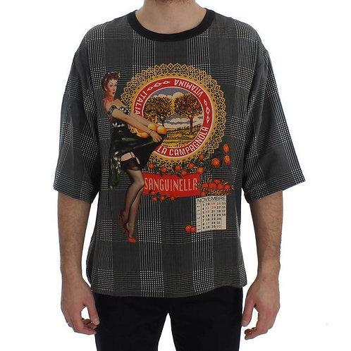 100% Silk Crewneck SANGUINELLA ITALIA Print T-shirt - Black with multicolor prin