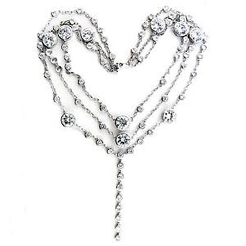 Necklace - 925 Sterling Silver, Rhodium, AAA Grade CZ, Clear
