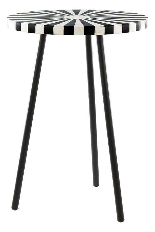 """15"""" x 15"""" x 21.1"""" Black and White Resin Iron Side Table"""