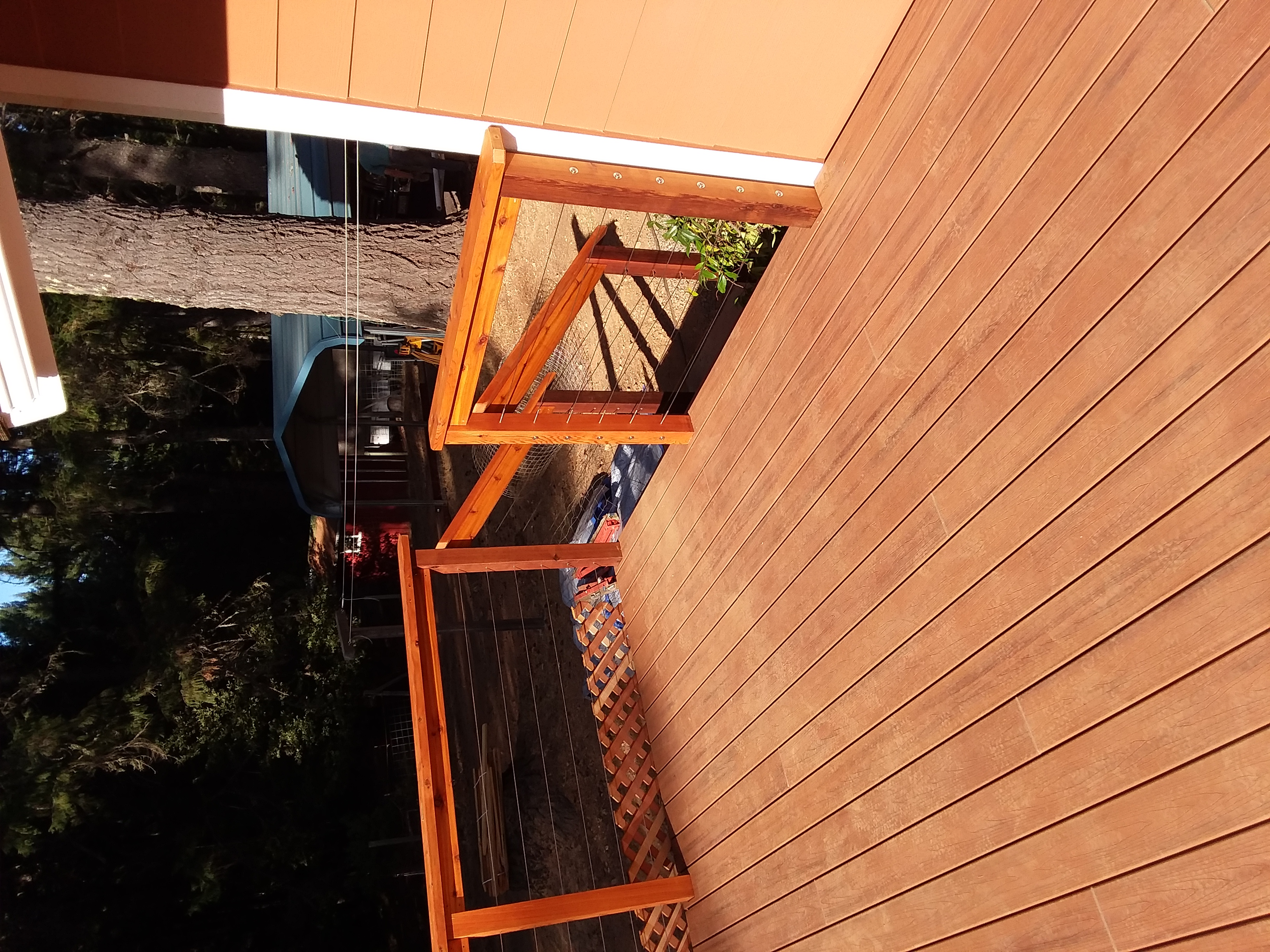 Custom Deck, Western Red Ceder Pergola_hand rail and Trex  Decking