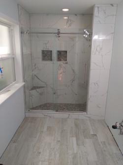 Walk-in tile shower