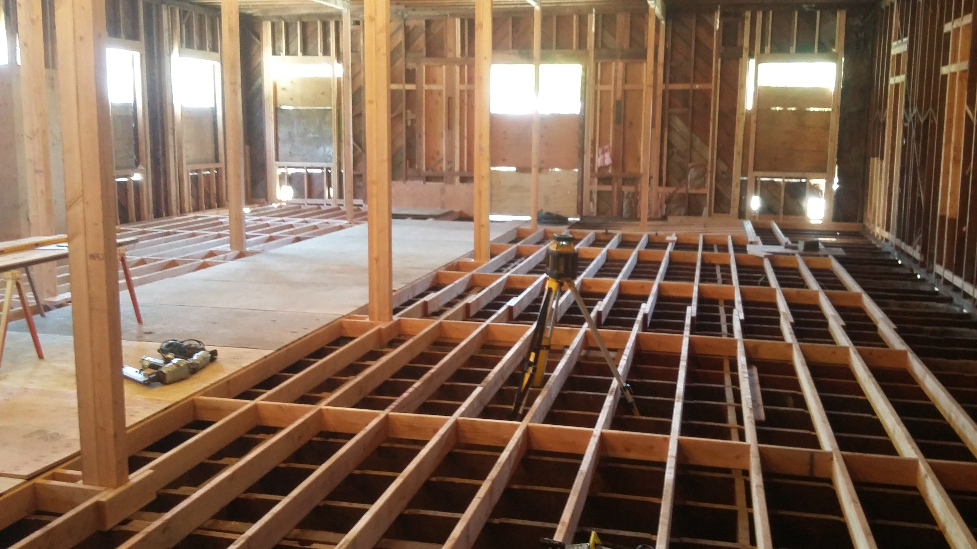 Building restoration, floor framing