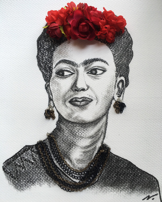 Charcoal Portrait - Frida Kahlo
