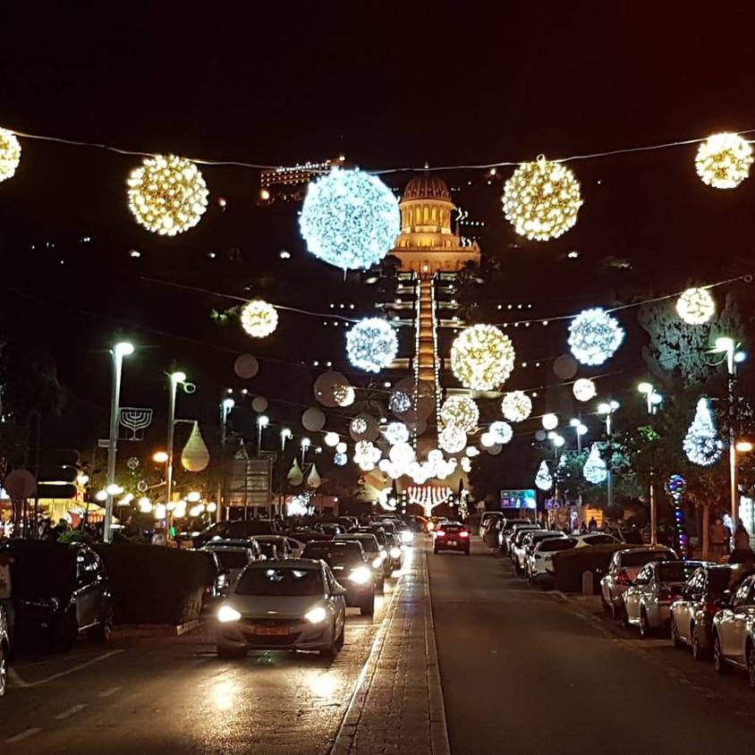 סיור לילי בחג החגים בחיפה המקושטת לחנוכה וחג המולד