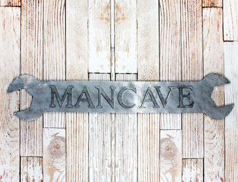 """""""Man Cave"""" Metal Wrench Sign"""