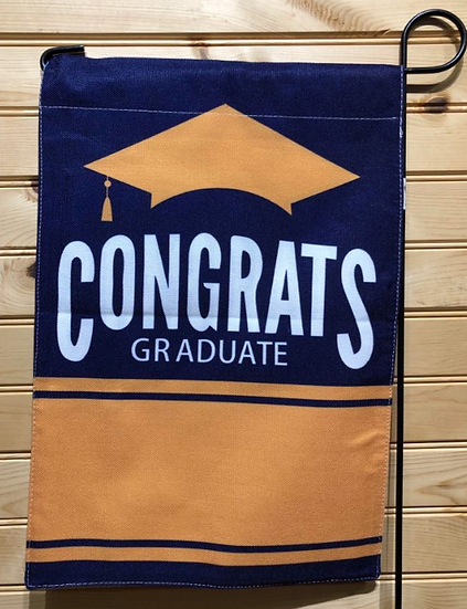 Navy and Orange Graduation Garden Flag