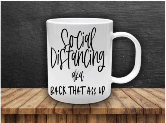 11 oz. Social Distancing White Ceramic Mug