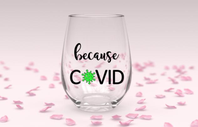 Covid stemless wine glass