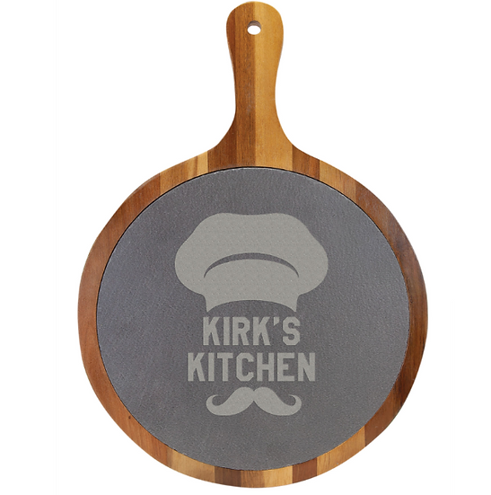"""14 1/2"""" x 10 1/2"""" Round Acacia Wood/Slate Serving Board with Handle"""
