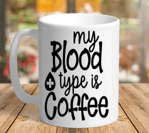 White Ceramic blood type Mug