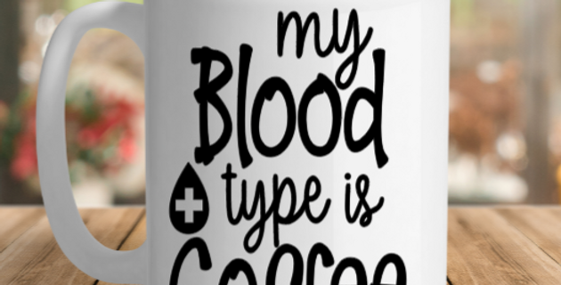 White Ceramic blood type Mug
