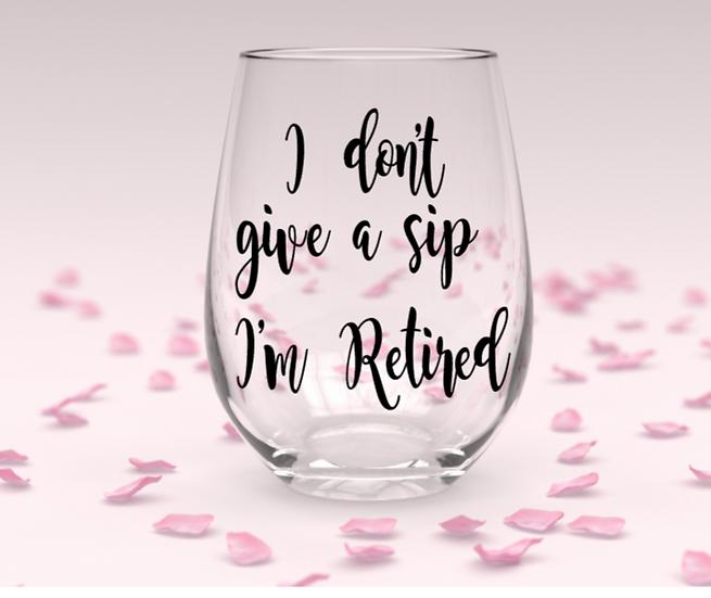 Retired stemless wine glass