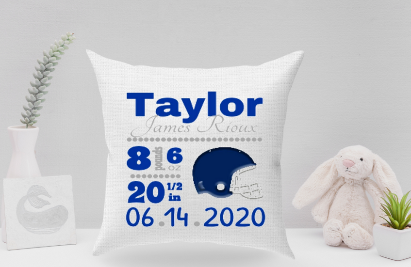 Baby boy football pillow