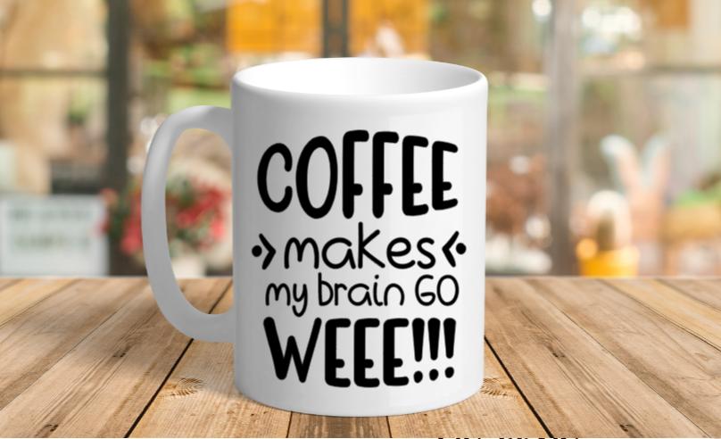 White Ceramic makes my brain Mug