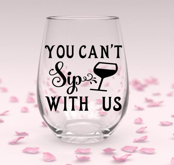 Sip stemless wine glass