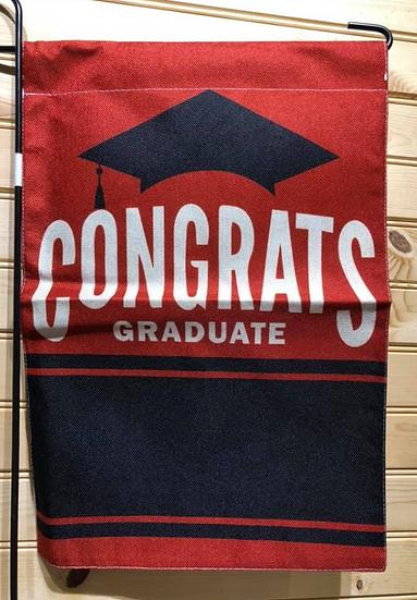 Red and Black Graduation Garden Flag
